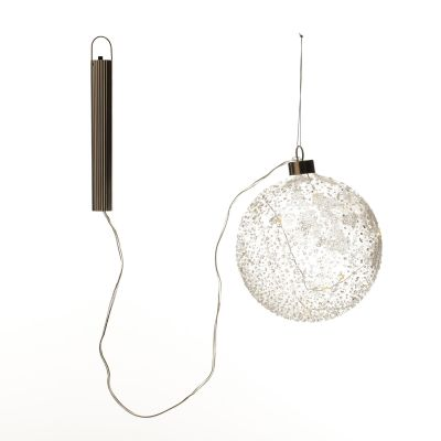 Lightup Clear Glass Glitter Bauble with switch