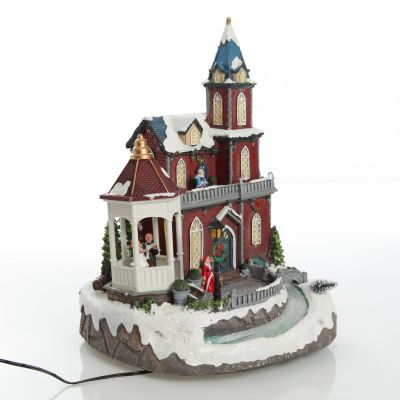 Lightup Musical Large Red Winter House Christmas Ornament