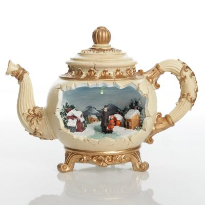 Lightup Musical Teapot Ornament with Winter Christmas Scene