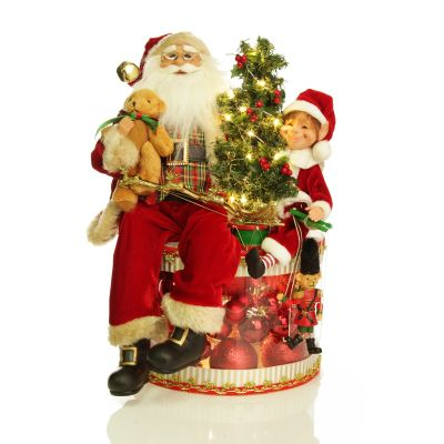 Lightup Ornament with Santa and Elf on Christmas Drum - Whole Product with Lights On