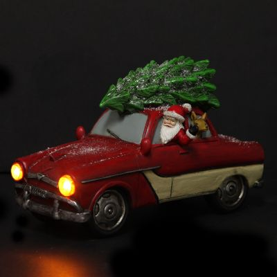 Lightup Santa in Car with Christmas Tree on Roof Ornament