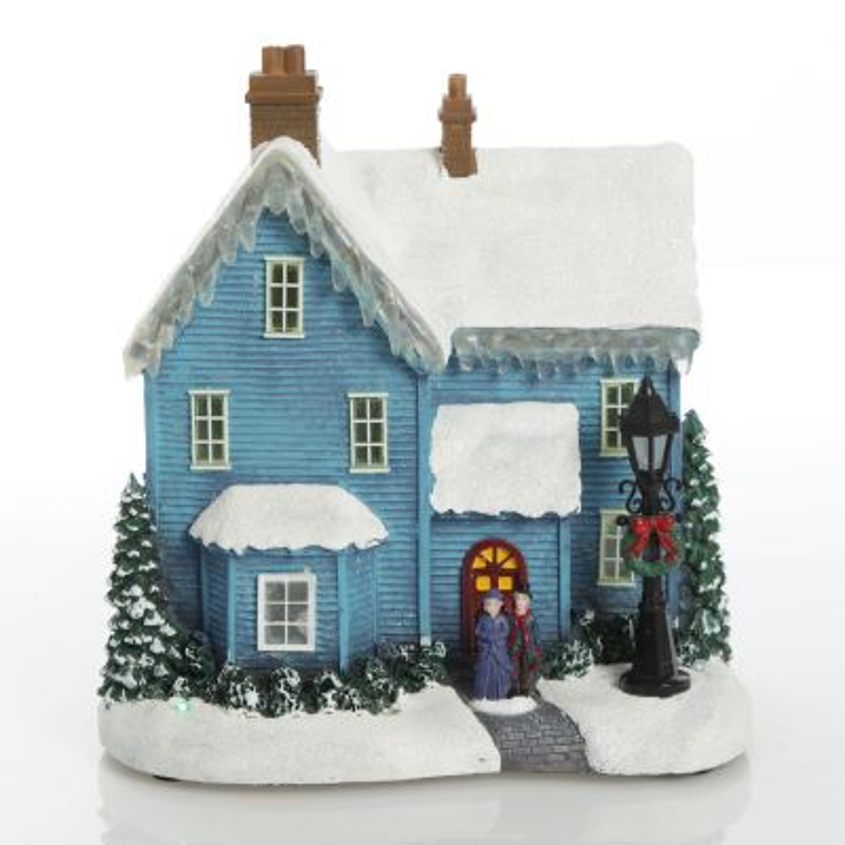Lightup Musical Snowcapped Blue House Christmas Ornament