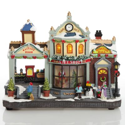 Lightup Musical Train Station and Gift Shop Christmas Ornament