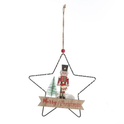 Lightup Wire Star Hanging Chrismtas Ornament with Nutcracker Drummer
