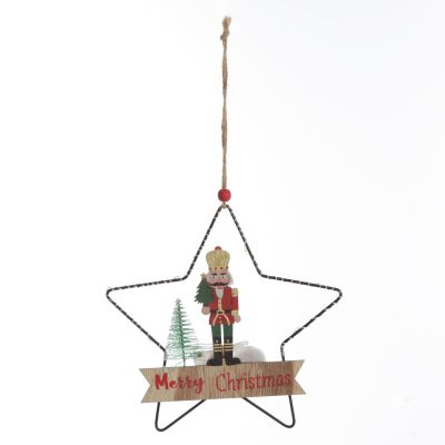 Lightup Wire Star Hanging Chrismtas Ornament with Nutcracker Holding Tree
