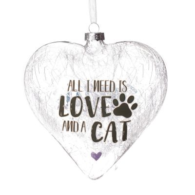 Personalised Icicle Glass Heart - Love and a Cat