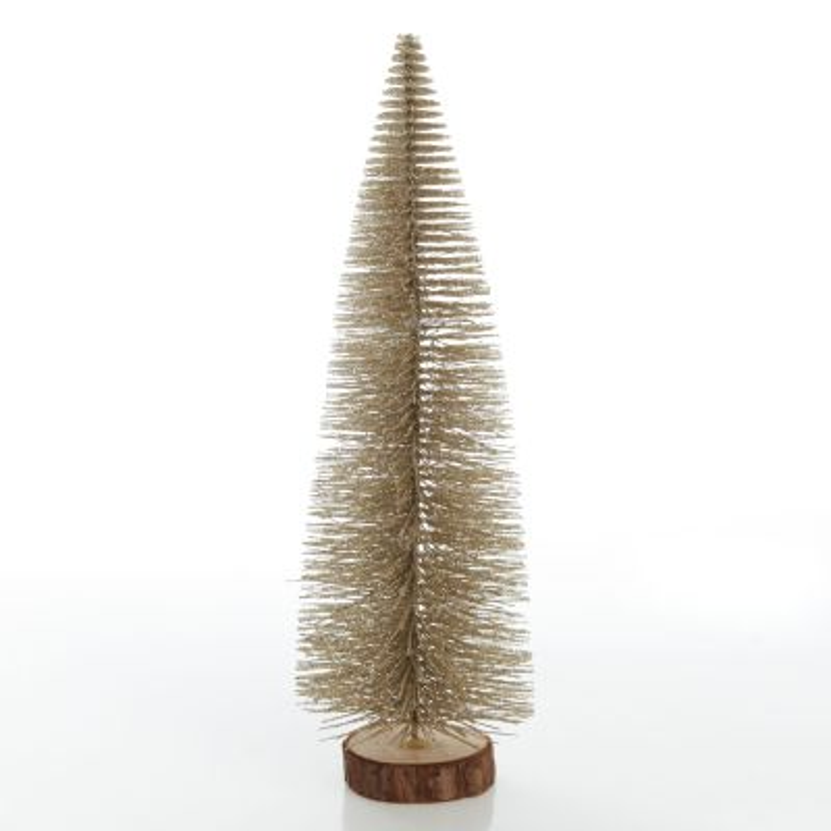 Medium Gold Bottle Brush Christmas Tree on Wooden Base