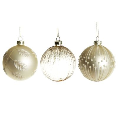 Medium Pearl and Gold Ornate Glitter Glass Baubles - Set of 3