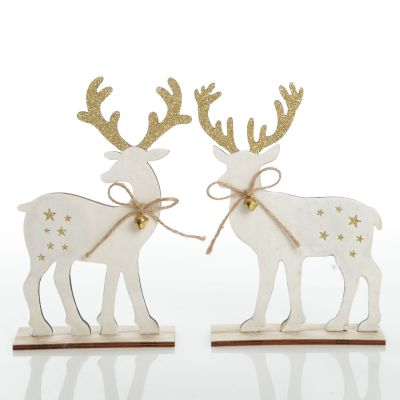 Medium White Wood Deers with Gold Glitter Ornaments -Set of 2
