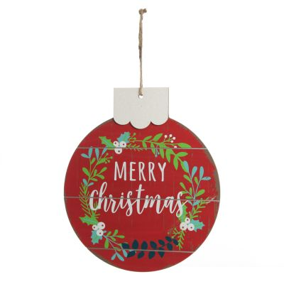 Red Merry Christmas Wooden Bauble Plaque