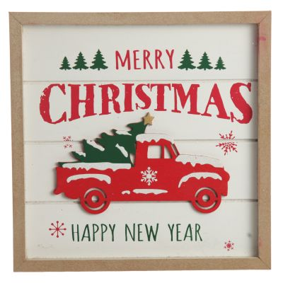 Merry Christmas Truck Wall Hanging Plaque