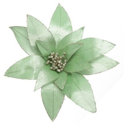 Mint Green Lily Flower Stem with Gold Glitter Trim