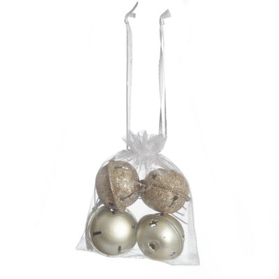 Mixed Finish Gold 4cm Jingle Bell Decorations - Bag of 4
