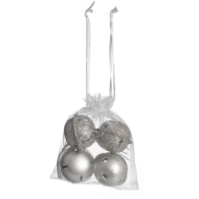 Mixed Finish Silver 4cm Jingle Bell Decorations - Bag of 4