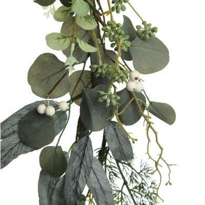 Native Eucalyptus Leaf Christmas Garland with White Berries