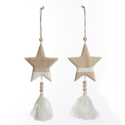 Natural and White Wooden Stars with Tassels Tree Decorations - Set of 2