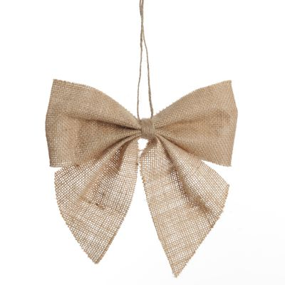 Natural Burlap Bow with Hanger