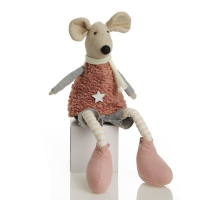 Natural Calico Fabric Boy Mouse Grey and Pink whole product