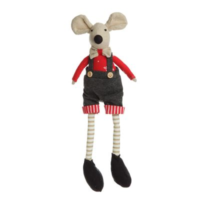 Natural Calico Fabric Boy Mouse with Grey Overalls and Stripey Legs front detail