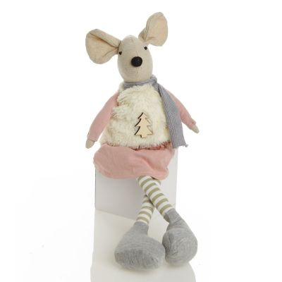 Natural Calico Fabric Girl Mouse Grey and Pink Whole Product
