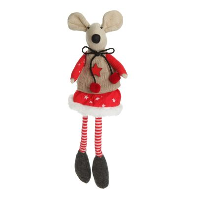Natural Calico Fabric Girl Mouse with Red Dress and Stripey Legs Whole Product