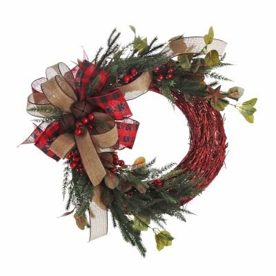 Natural Red Twig Christmas Rustic Wreath with Check Bow