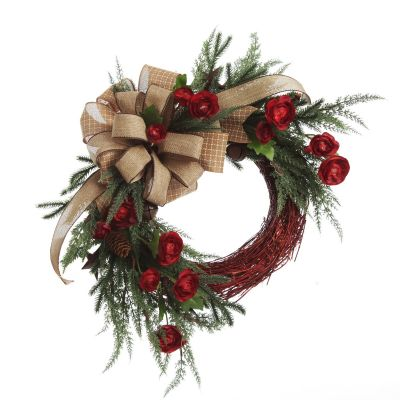 Natural Red Twig Christmas Rustic Wreath with Burlap Bow