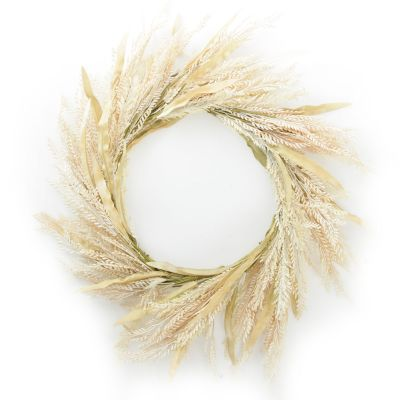 Natural Wheat and Leaves Christmas Wreath