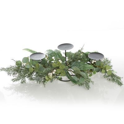 Native Eucalyptus Leaf with White Berries Christmas Table Centrepiece Candle Holder