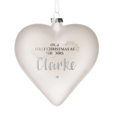 Personalised Frosted Glass Heart - Our First Christmas as Mr & Mrs