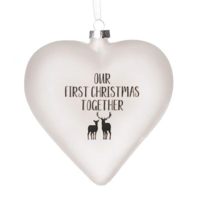 Personalised Frosted Glass Heart - Our First Christmas Together
