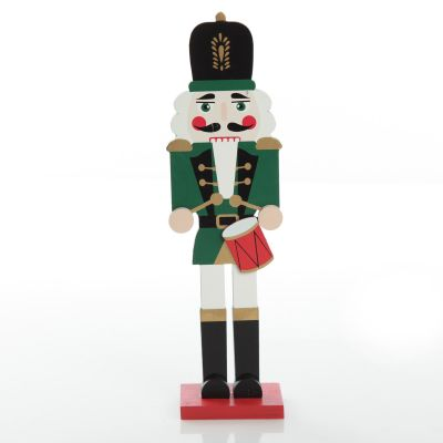 Painted Green Drummer Plywood Nutcracker Christmas Ornament on Base