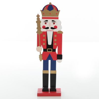 Painted Red Guard Plywood Nutcracker Christmas Ornament on Base