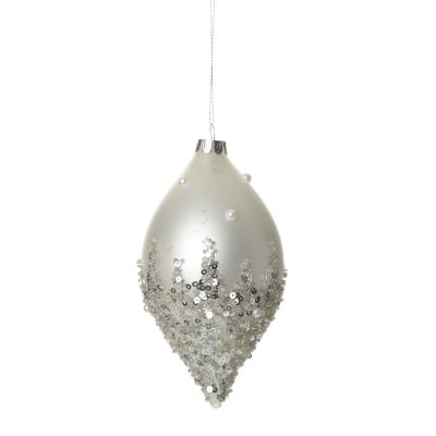 White Glass Teardrop with Silver Sequins