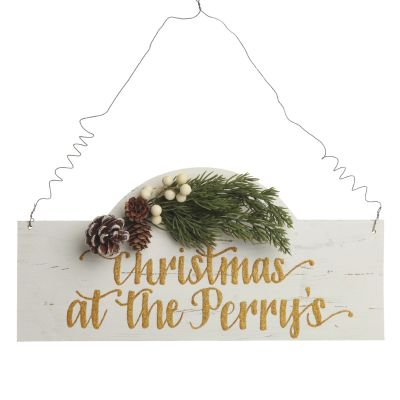 Personalised Arched Country Christmas Wood Plaque with White Berry
