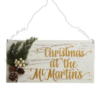 Personalised Country Christmas Wood Plaque with White Berry