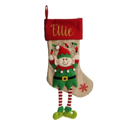 Personalised Boy Elf Christmas Stocking with Dangly Legs