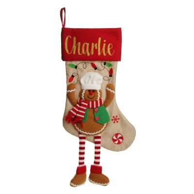 Personalised Gingerbread Boy Christmas Stocking with Dangly Legs