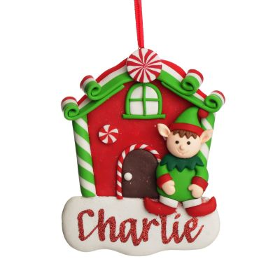 Personalised Gingerbread House Decoration with Boy Elf