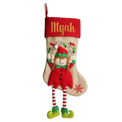Personalised Girl Elf Christmas Stocking with Dangly Legs