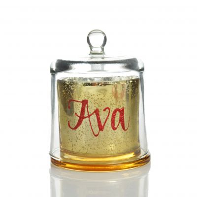 Personalised Gold Scented Christmas Candle with Glass Cloche