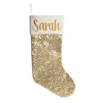 Personalised Gold Sequin Christmas Stocking Whole product