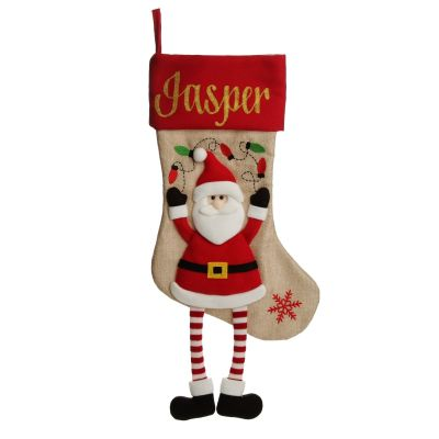 Personalised Santa Christmas Stocking with Dangly Legs