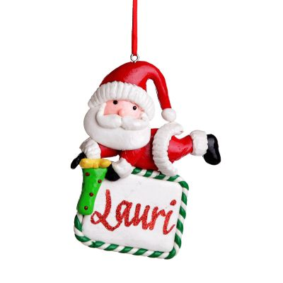 Personalised Santa with Plaque Hanging Decoration