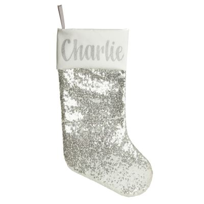 Personalised Silver Sequin Christmas Stocking Whole product