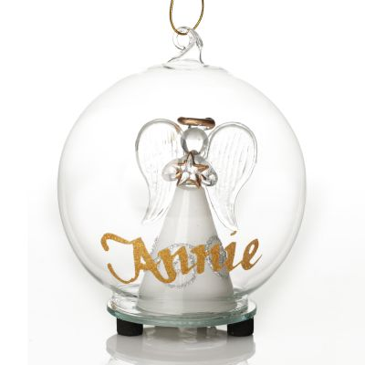 Personalised Glass Angel with Heart Light Up Ball