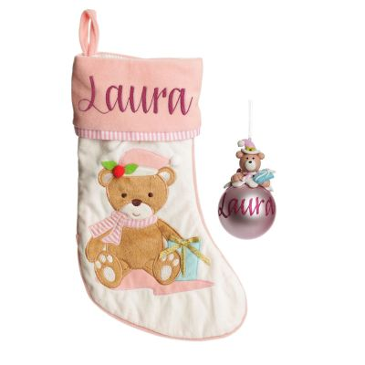 Baby Pink Teddy Bear Stocking and Bauble Pack