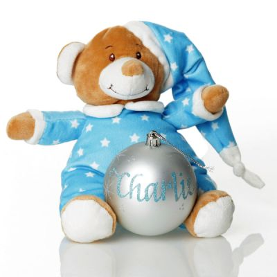 Blue Starbright Teddy and Bauble Gift Pack