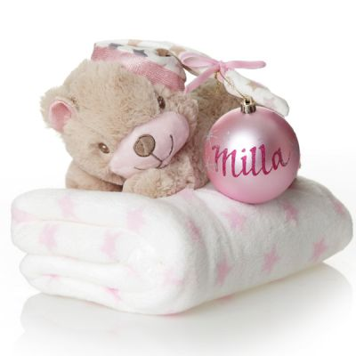 Pink Teddy with Blanket and Bauble Gift Pack