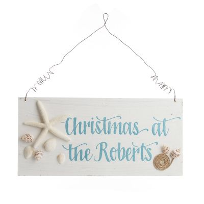 Personalised Beach Christmas Wood Plaque